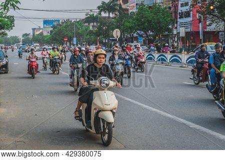 Busy Rush Hour Traffic In Vietnam. Hue, Vietnam - March 12, 2020