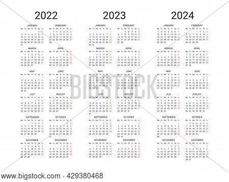 Calendar 2022 2023 2024 Years Template. Calendar Mockup Minimal Design In Black And White Colors, Ho