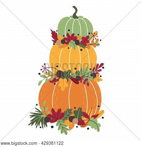 Traditional Autumn Tall Composition Of Ripe Pumpkins And Fallen Leaves, Twigs. Beautiful Decoration