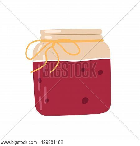 Cartoon Jar Of Delicious Berry Jam. Traditional Cranberry Sauce For Thanksgiving Dinner. Beautiful G