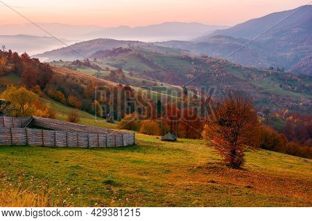 Rural Landscape At Sunrise. Beautiful Autumnal Mountain Scenery. Trees In Fall Foliage And Wooden Fe