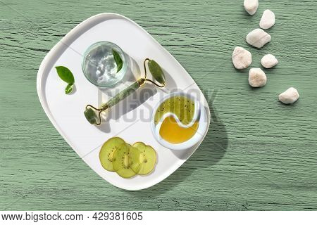 Abstract Grungy Blue Wooden Background With White Stones. Copy-space, Place For Text. Flat Lay, Top