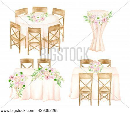 Wedding Reception Illustration Set. Watercolor Head Table, Round, Rectangle Wedding Guest Tables, Co