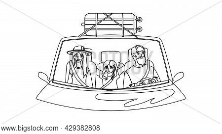 Family In Car Enjoy On Vacation Road Trip Black Line Pencil Drawing Vector. Man And Woman Parents An