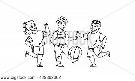 Children Playing With Ball Outside Together Black Line Pencil Drawing Vector. Kids Playing Football