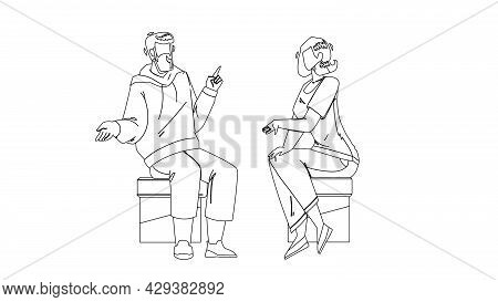 Conversation Between Young Man And Woman Black Line Pencil Drawing Vector. Boy And Girl Sitting On C