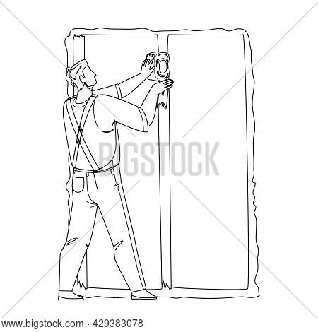 Drywall Installer Making Wall Renovation Black Line Pencil Drawing Vector. Builder Working And Finis