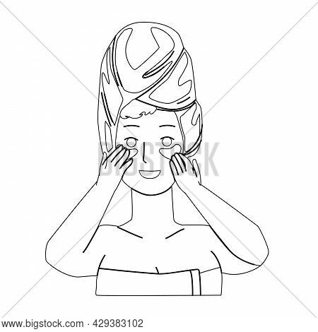 Eye Patch Using Girl For Beauty Procedure Black Line Pencil Drawing Vector. Young Woman Facial Skin