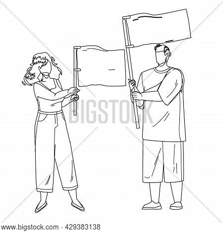 Flag Holding Boy And Girl Couple On Protest Black Line Pencil Drawing Vector. Young Man And Woman Ho
