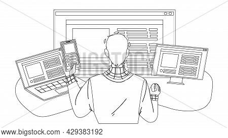 Front End Development Developer Occupation Black Line Pencil Drawing Vector. Young Man Working At Co