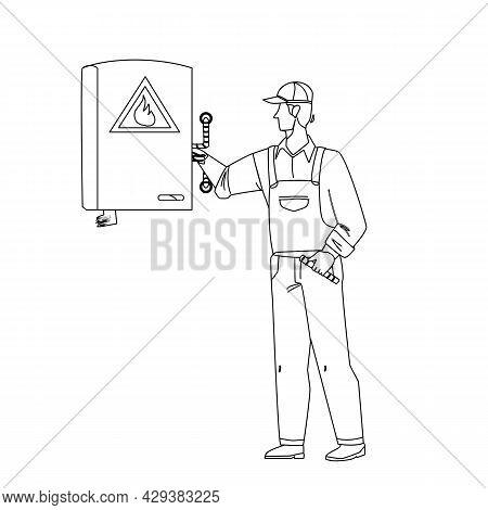 Gas Technician Worker Check Heating Boiler Black Line Pencil Drawing Vector. Gas Technician Service
