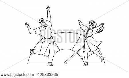 Good Credit Score Celebrate Man And Woman Black Line Pencil Drawing Vector. Businessman And Business