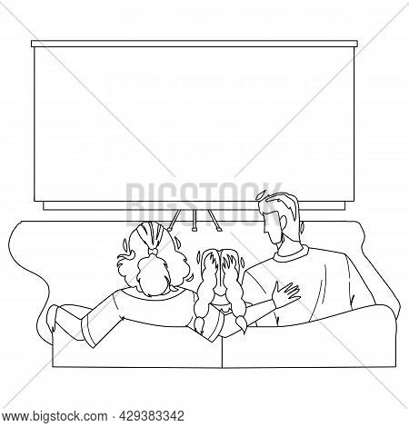 Home Theatre Watching Family Togetherness Black Line Pencil Drawing Vector. Father, Mother And Daugh