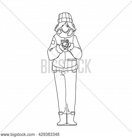 Hot Drink Drinking Woman In Winter Day Black Line Pencil Drawing Vector. Young Girl Wearing Warm Sea