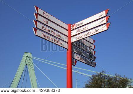 Cologne, Germany - September 22, 2020: Landmark Directions Sign In Cologne, Germany. Cologne Is The