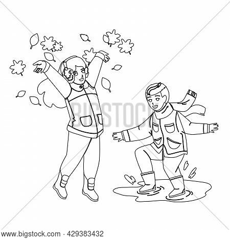 Kid Play Together Outdoor In Autumn Season Black Line Pencil Drawing Vector. Boy Jumping In Puddles