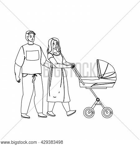 Parents Walking With Kid Stroller Together Black Line Pencil Drawing Vector. Young Father And Mother