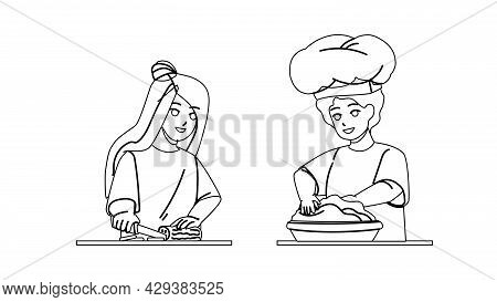 Kids Cooking Salad And Dessert Together Black Line Pencil Drawing Vector. Boy Prepare Dough For Baki