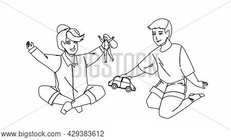 Kids Playing With Toys In Kindergarten Black Line Pencil Drawing Vector. Little Boy And Girl Kids Pl