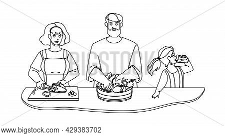 Kitchen Breakfast Preparing Family Together Black Line Pencil Drawing Vector. Mother Cutting Paprika