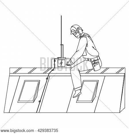 Lightning Protection System Installing Man Black Line Pencil Drawing Vector. Lightning Protection Eq