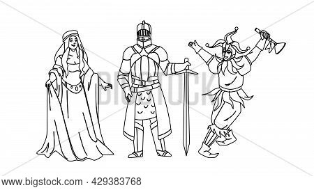 Medieval People Lady, Knight And Jester Black Line Pencil Drawing Vector. Medieval Woman Wearing Att