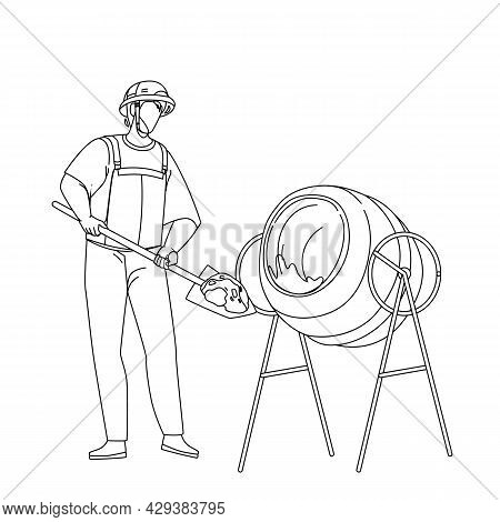 Mixing Cement Construction Worker In Tool Black Line Pencil Drawing Vector. Builder Filling Cement W