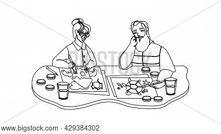 Senior Man And Woman Painting In Art Class Black Line Pencil Drawing Vector. Elderly Grandfather And
