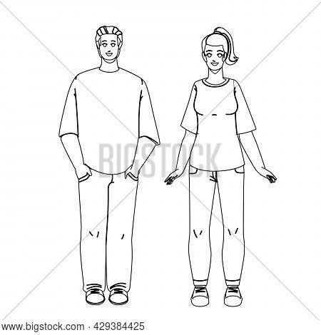 T-shirt Clothing Wearing Man And Woman Black Line Pencil Drawing Vector. Stylish Blank T-shirt, Jean