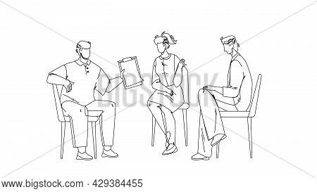 Team Group Discuss And Communicate Together Black Line Pencil Drawing Vector. Young Men And Woman Te