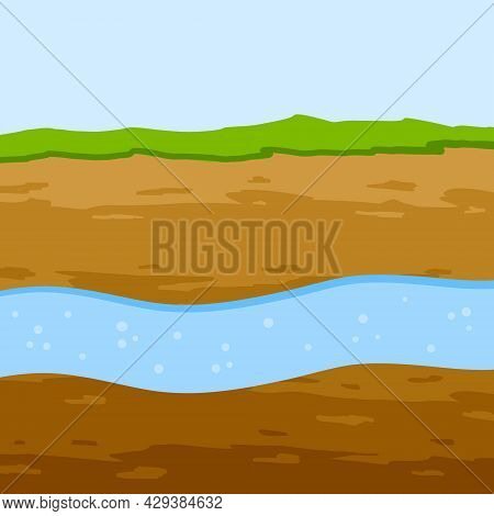 Underground River. Flow Of Water In Earth Layer. Ground In Cross Section. Geological Background. Nat