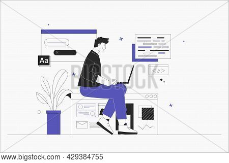 Business Man, Smm Manager, Programmer, Sit On Infographic And Work On Laptop. Freelancer Working On