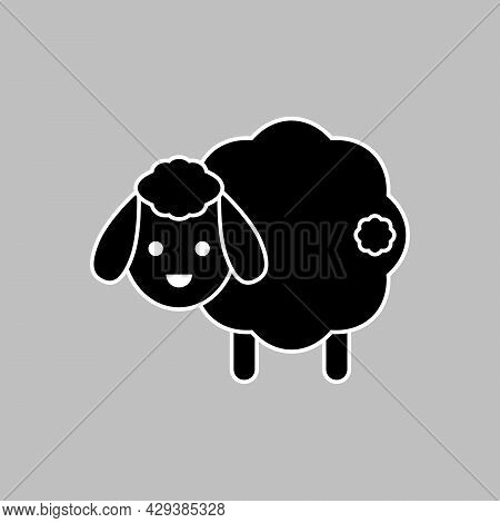 Cute Sheep With Tail. Vector Drawing. Lamb Black And White Silhouette. Isolated Illustration.
