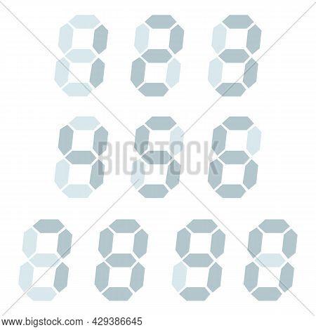 Digital Clock Number Set. Electronic Figures. Vector Illustration Eps 10