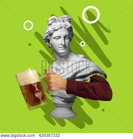 Contemporary Art Collage With Bust Of Antic Statue And Hand Holding Beer Glass With Lager Cold Foamy