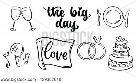Wedding collection in doodle. Hand drawn wedding decoration in sketch. Cake and rings icons in doodle. Vector EPS 10
