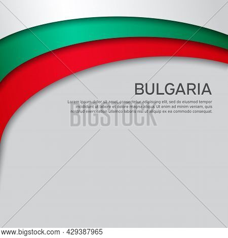 Abstract Waving Bulgaria Flag. Paper Cut Style. Creative Background For Design Of Patriotic Holiday
