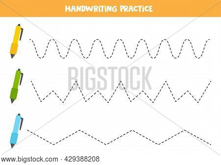 Tracing Lines For Kids With Colorful Writing Pens. Summer Worksheet.