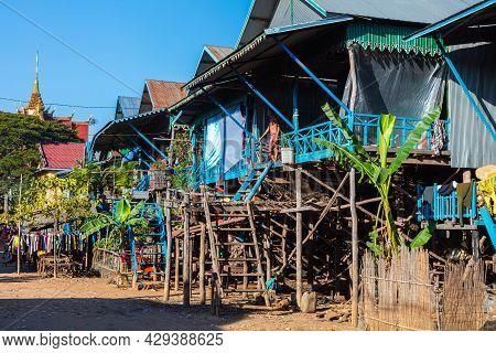 Kampong Phluk, Cambodia - June 07, 2019: Floating Village On Tonle Sap Lake Near Siem Reap, Cambodia