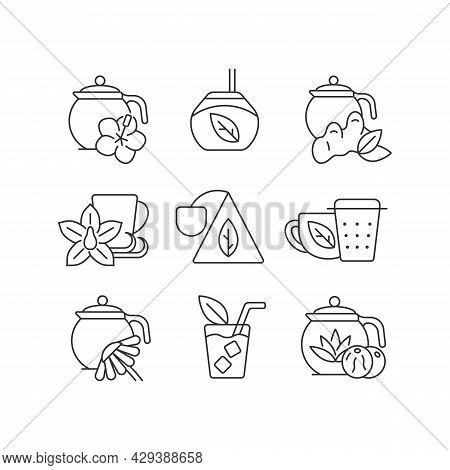 Tea And Tea-like Beverages Linear Icons Set. Hot Herbal Beverages. Chai Drink. Teacups And Accessori