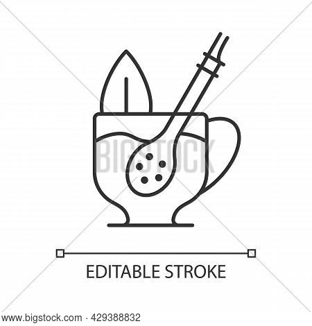 Mate Straw Linear Icon. Stick That Filters Dried Mate Tea Parts. Bombilla From Metal Or Wood. Thin L