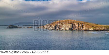 Beautiful scenery of the Atlantic Ocean coastline on Dingle Peninsula, County Kerry, Ireland.