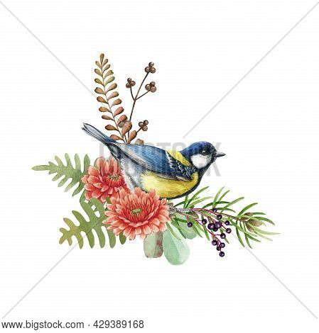 Big Tit Bird With Flowers. Watercolor Illustration. Rustic Natural Autumn Element. Hand Drawn Forest
