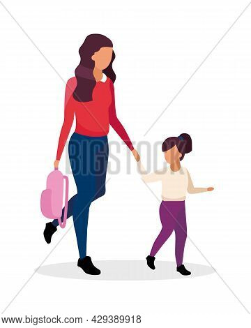 Mom And Daughter Going To School Semi Flat Color Vector Characters. Full Body People On White. First