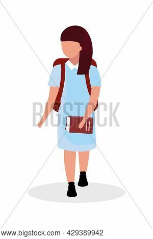 Schoolgirl With Book Semi Flat Color Vector Character. Walking Figure. Full Body Person On White. Fi
