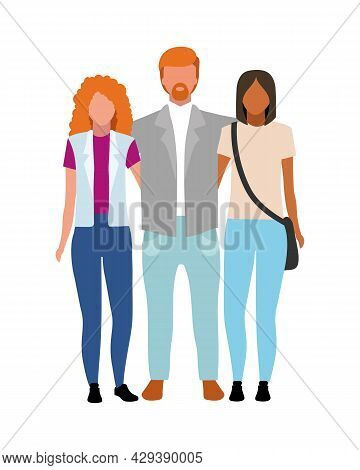 Hosting Foreign Exchange Student Semi Flat Color Vector Characters. Full Body People On White. Livin