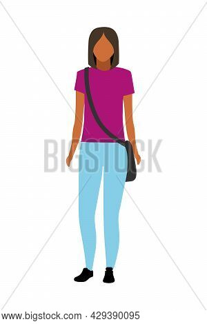 High Schoolgirl Semi Flat Color Vector Character. Standing Figure. Full Body Person On White. Intern