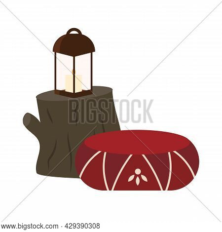 Cozy Accessories For Camping Semi Flat Color Vector Object. Full Sized Item On White. Making Outdoor