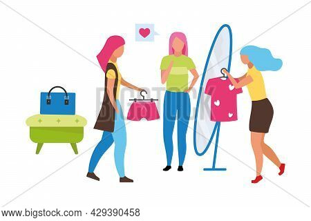 Female Fashion Sales Assistant Semi Flat Color Vector Characters. Full Body People On White. Assisti