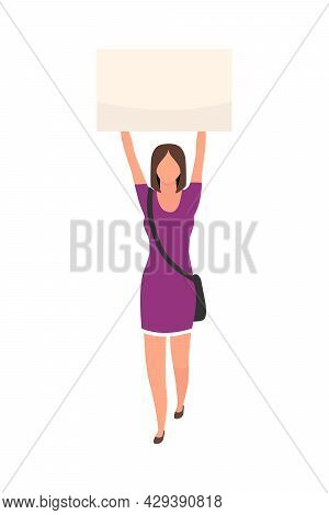 Young Woman Holding Poster Above Head Semi Flat Color Vector Character. Full Body Person On White. R